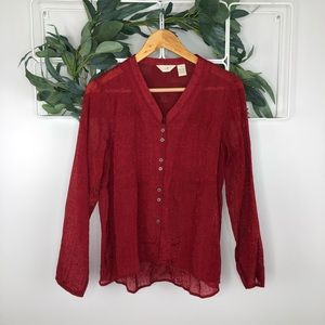 J Jill Red Long Sleeve Button Up Blouse